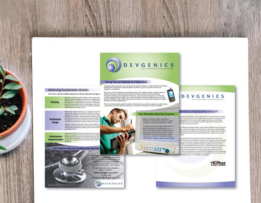 Devgenics, Medical Techology Sales Sell Sheets – Franklin, TN
