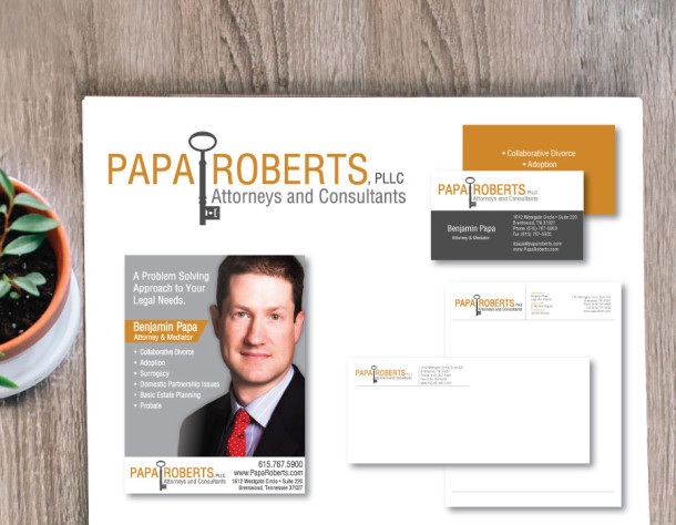 Papa & Roberts Law Firm Brand Set – Logo, Business Card, Stationary, Ad – Nashville